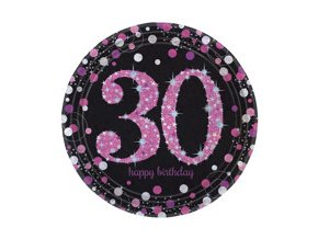 eng pm Pink Celebration 30th Prismatic Paper Plates 23 cm 8 pcs 20131 2