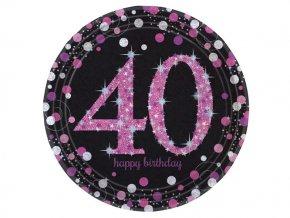 eng pl Pink Celebration 40th Prismatic Paper Plates 23 cm 8 pcs 20132 1