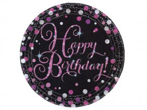 eng pl Pink Celebration Happy Birthday Prismatic Paper Plates 23 cm 8 pcs 20043 1