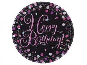 eng pl Pink Celebration Happy Birthday Prismatic Paper Plates 23 cm 8 pcs 20043 1
