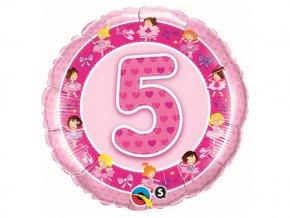 """Fóliový balón """"5"""" Happy Birthday ružový 47cm"""