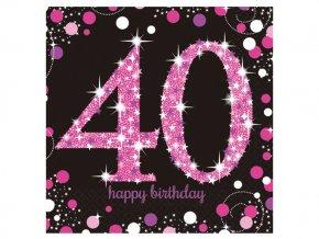 eng pl Pink Celebration 40th Luncheon Napkins 33cm 16 pcs 20046 2