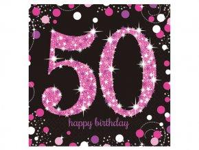 eng pl Pink Celebration 50th Luncheon Napkins 33cm 16 pcs 20047 1