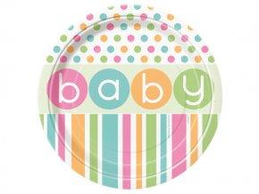eng pl Baby Shower paper plates 18 cm 8 pcs 24745 2