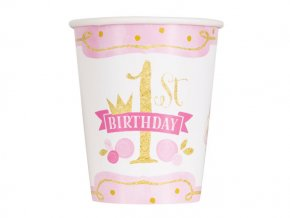 eng pl Pink Gold 1st Birthday Cups 266 ml 8 pcs 24484 2