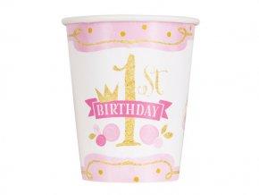 eng pl Pink Gold 1st Birthday Cups 266 ml 8 pcs 24484 2
