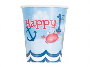 eng pl Nautical 1st Birthday Paper Cups 266 ml 8 pcs 24491 1