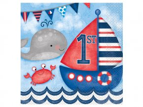 eng pl Nautical 1st Birthday Lunch Napkins 33 cm 16 pcs 24490 2