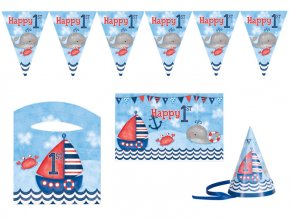 eng pl Nautical 1st Birthday High Chair Kit 4 pcs 24493 2