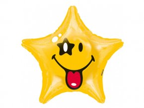 eng pl Standard Smiley Star Foil Balloon 48 cm 1 pc 26859 1