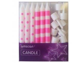 Sviečky bielo neonovo ruzove 12ks v balení