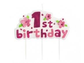 Sviečka 1st birthday ružová 4,5x8cm
