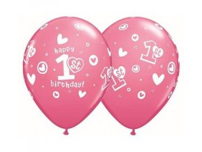 eng pl 1st Happy Birthday pink latex balloon 30 cm 5 pcs 26351 1