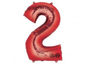 Fóliový balón číslo ,,2,, červený 83cm