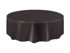 eng pl Round black plastic tablecover 213 cm 1 pc 24821 2