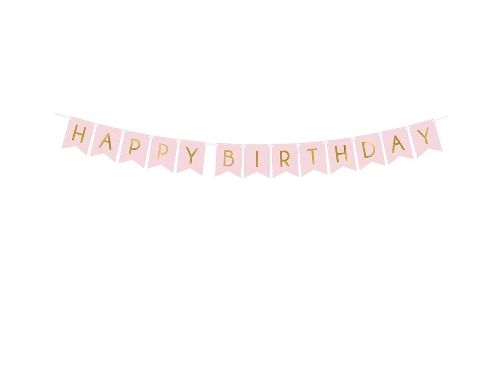 banner happy birthday ruzovy
