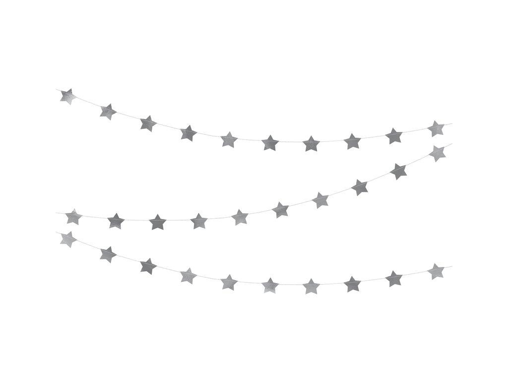 girlanda s hvezdami stribrna