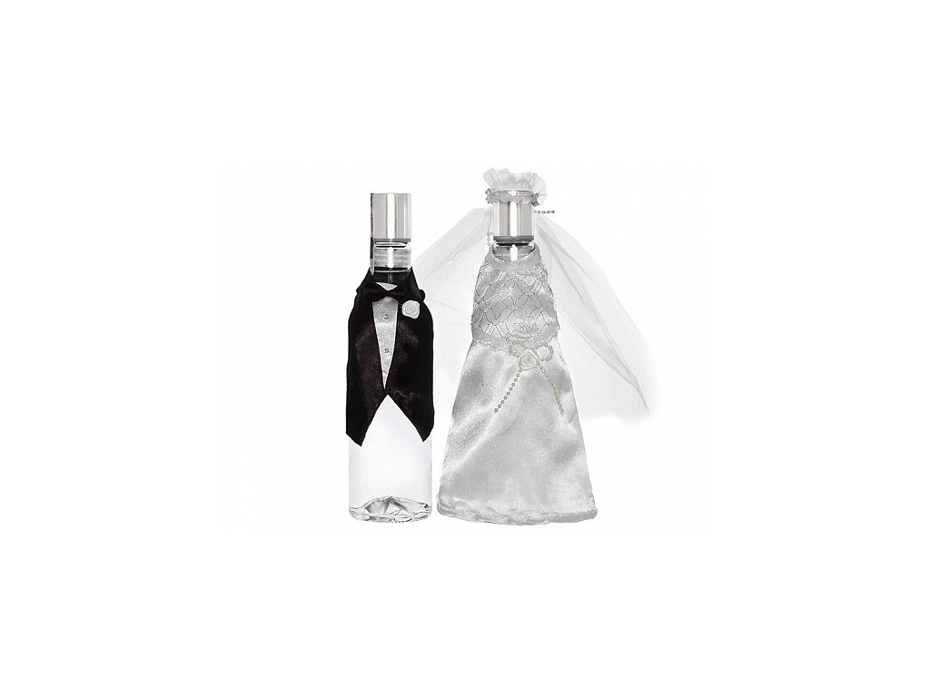 svatebni oblecky na lahev zenich a nevesta