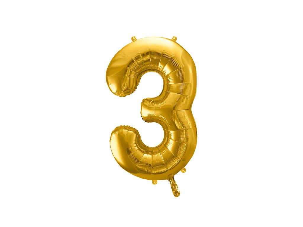 balonky cisla 3 zlate