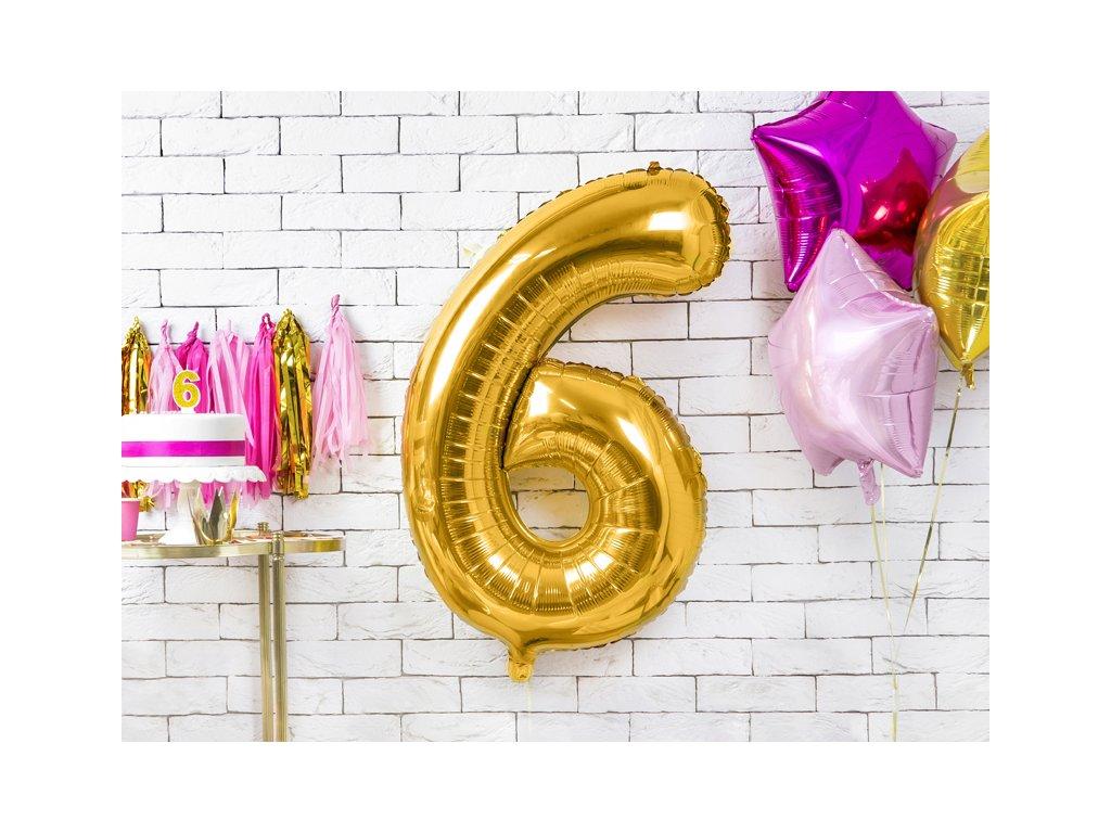 balonky cisla 6 zlate