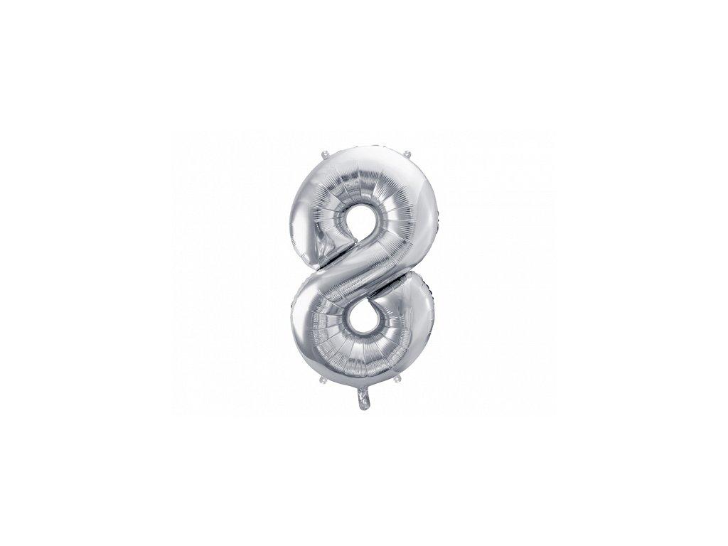 balonky cisla 8 stribrne
