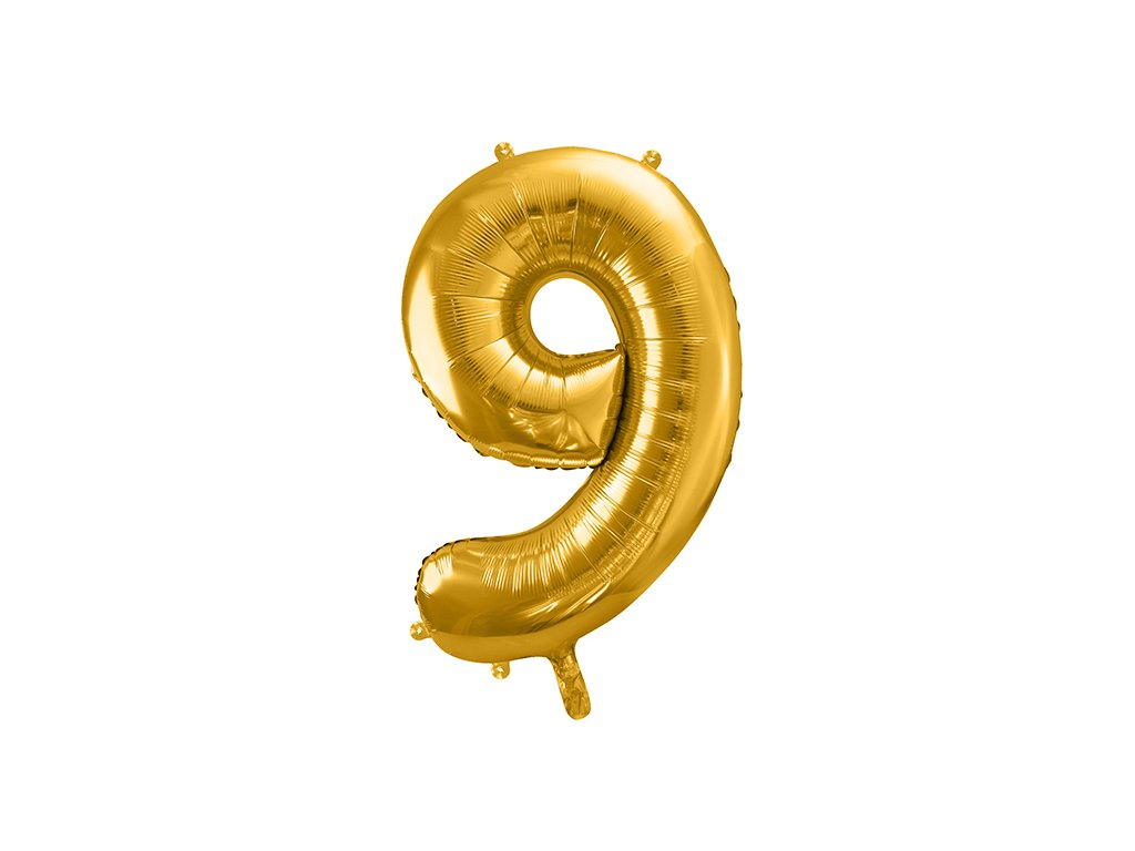 balonky cislo 9 zlate