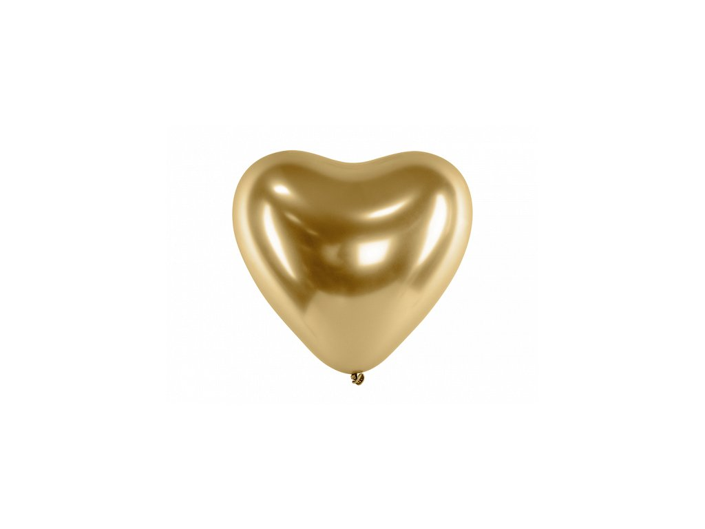 chromovy balonek srdce zlate