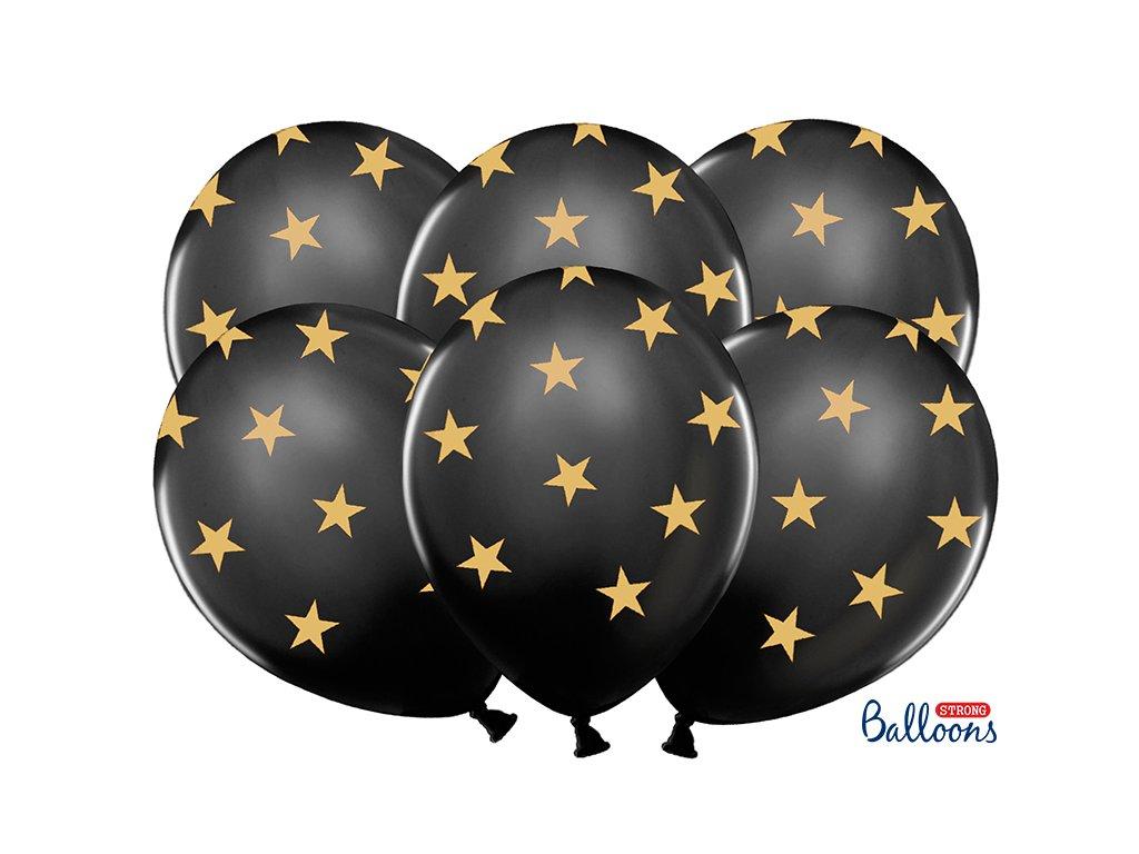 latexove balonky cerne zalte hvezdy