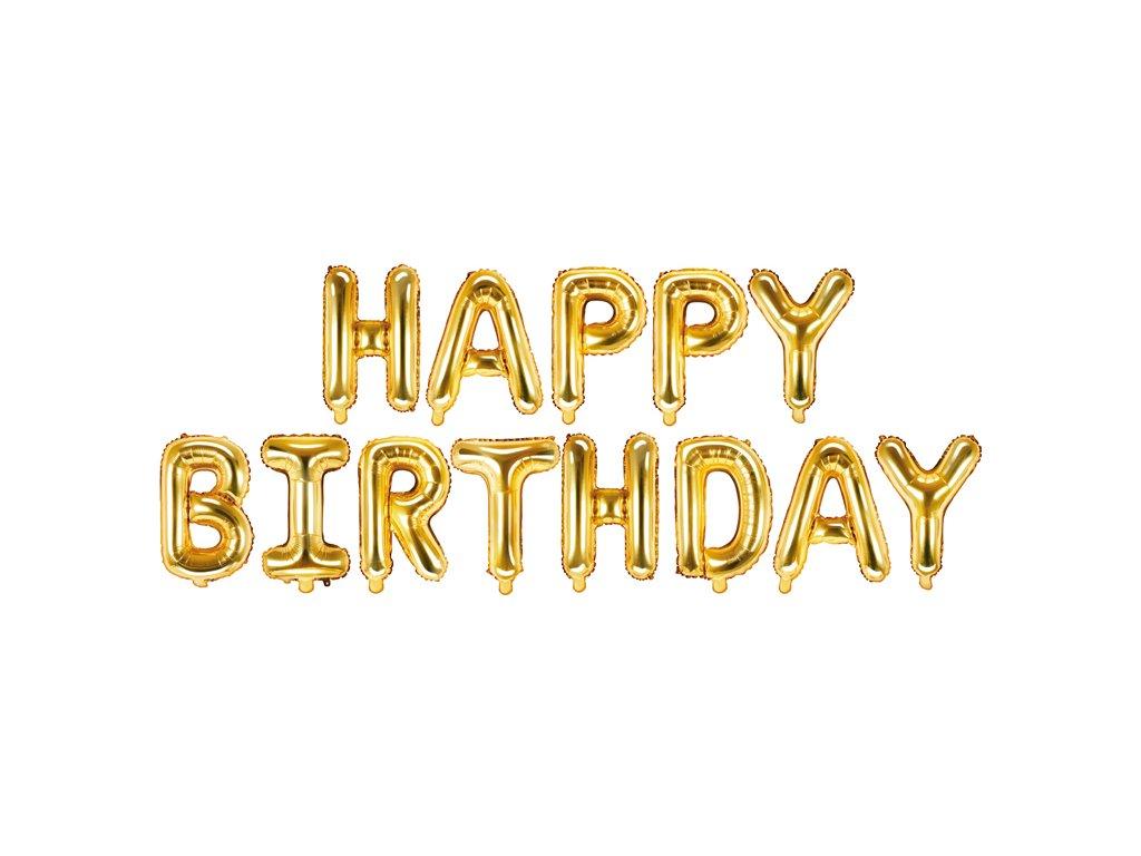 napis balonky happy birthday zlaty