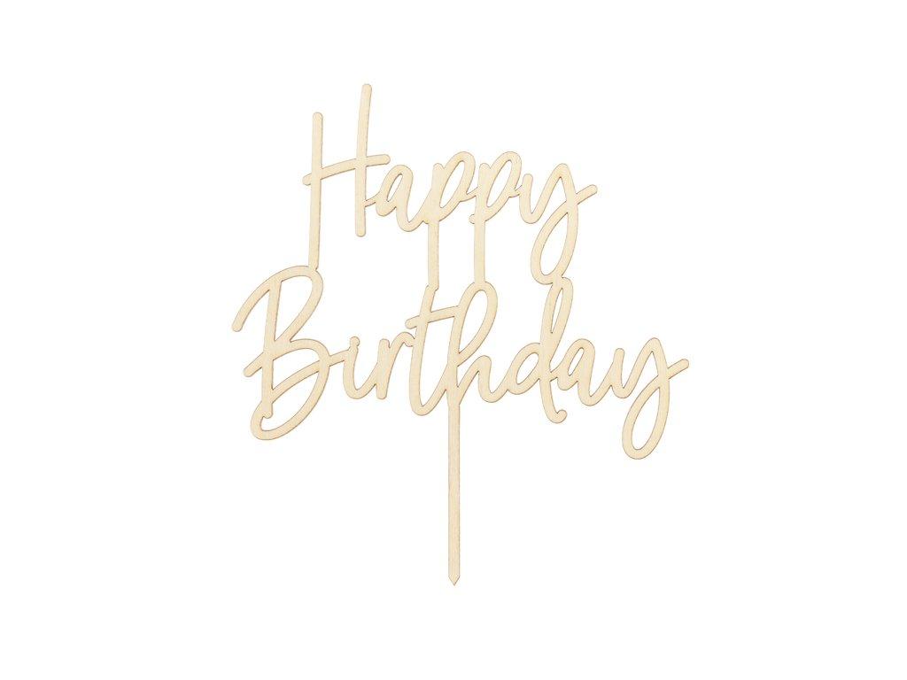 dreveny zapich na dort happy birthday