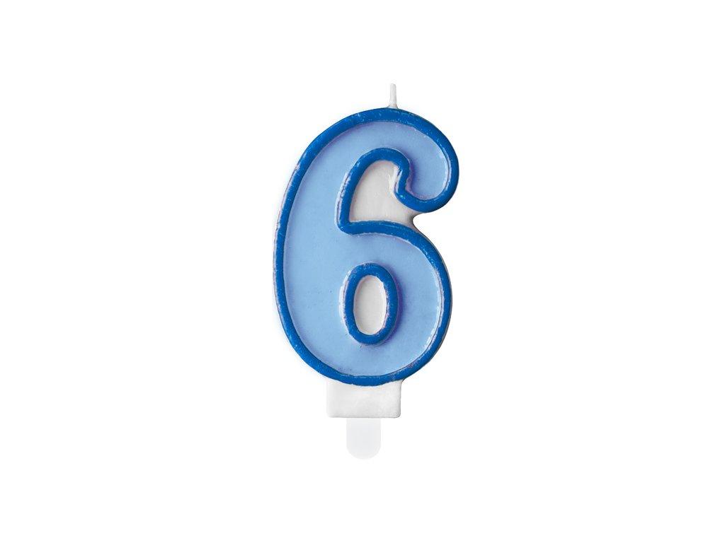 svicka na dort 6 modra