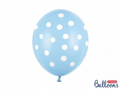 balonky s puntiky modre