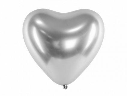 chromovy balonek srdce stribrne
