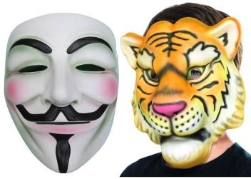 Masky papírové, plastové, plyšové