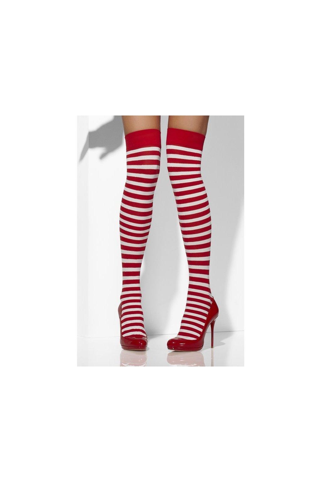 Červené punčochy s bílými pruhy - vánoční punčochy