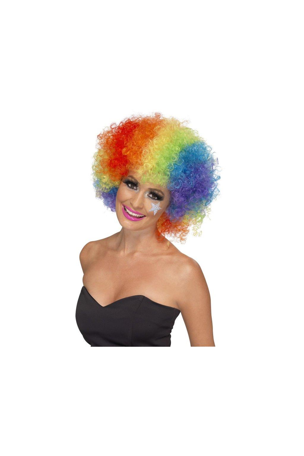 Duhová afro paruka klaun