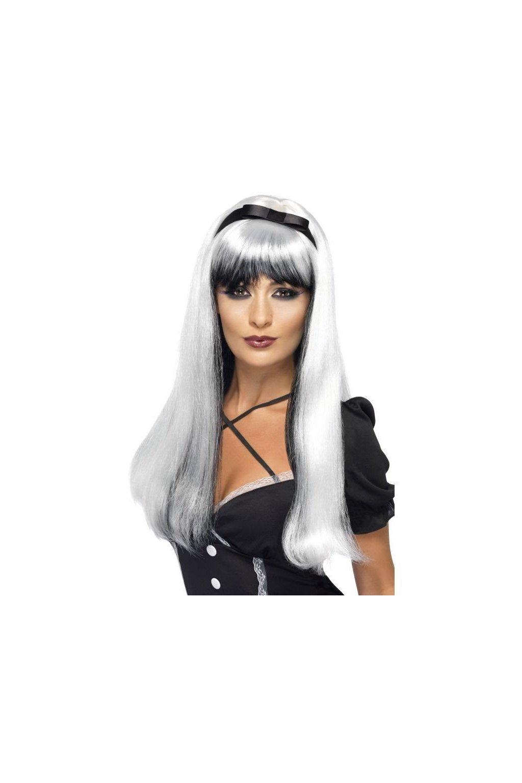 Paruka - stříbrno černá