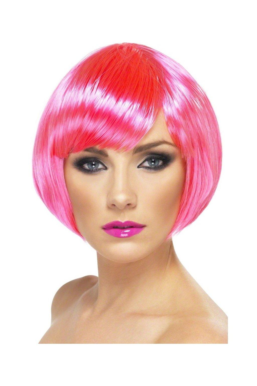 Neonová paruka růžová