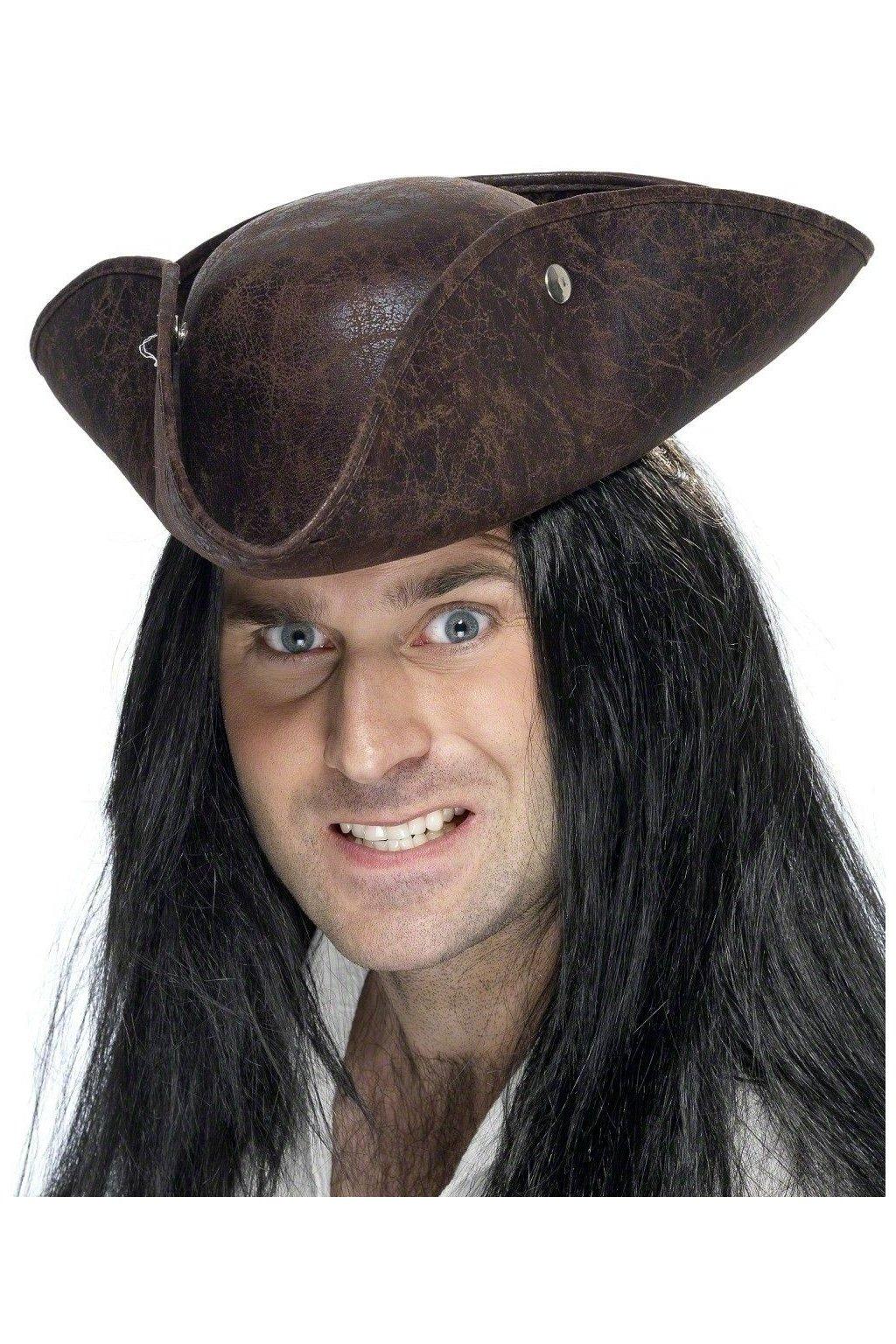 Hnědý pirátský klobouk