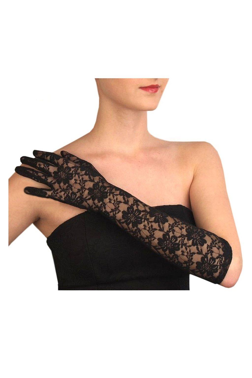 Krajkové rukavice dlouhé černé