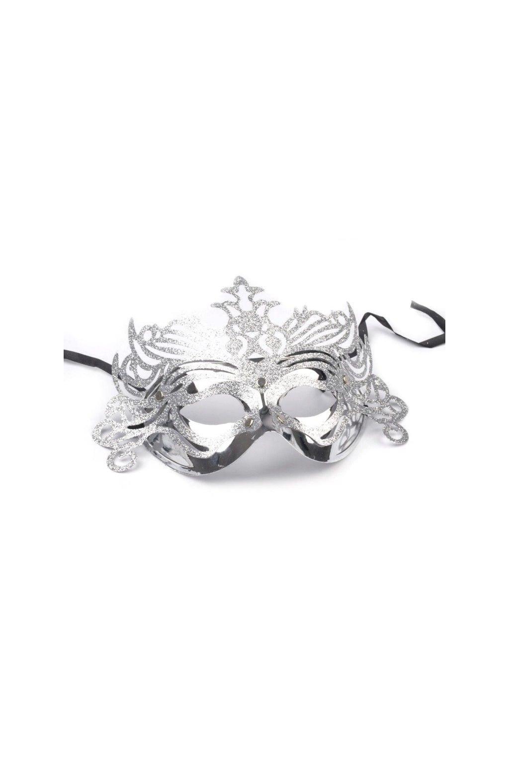 Maska stříbrná - škraboška