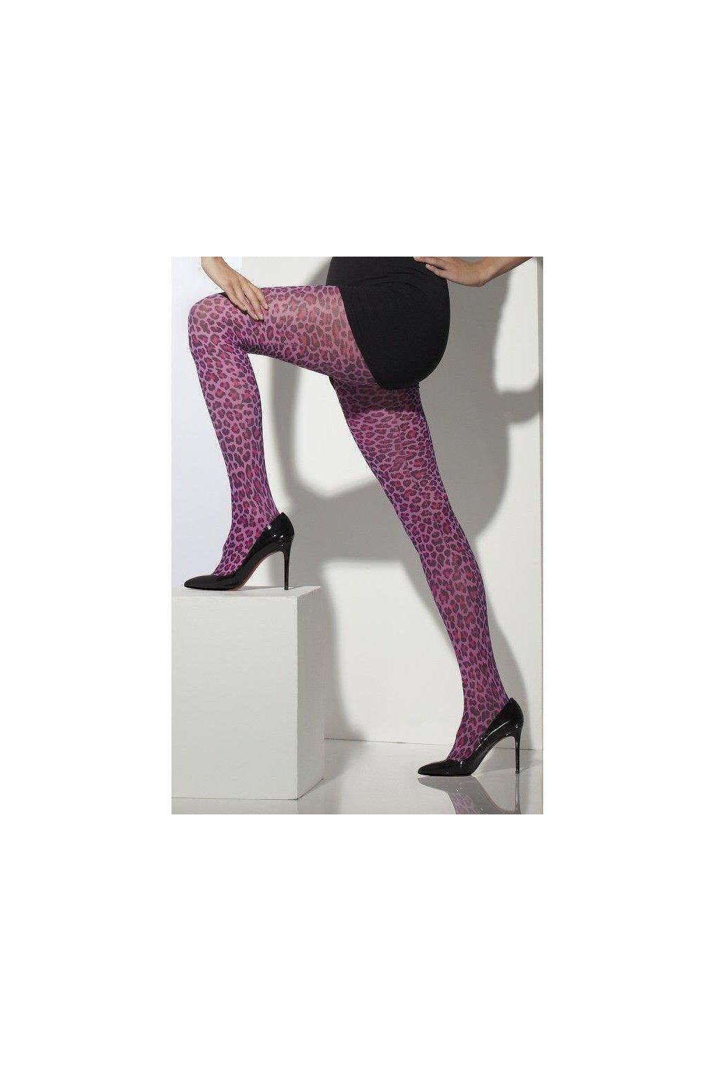 Růžové punčocháče s leopardím vzorem