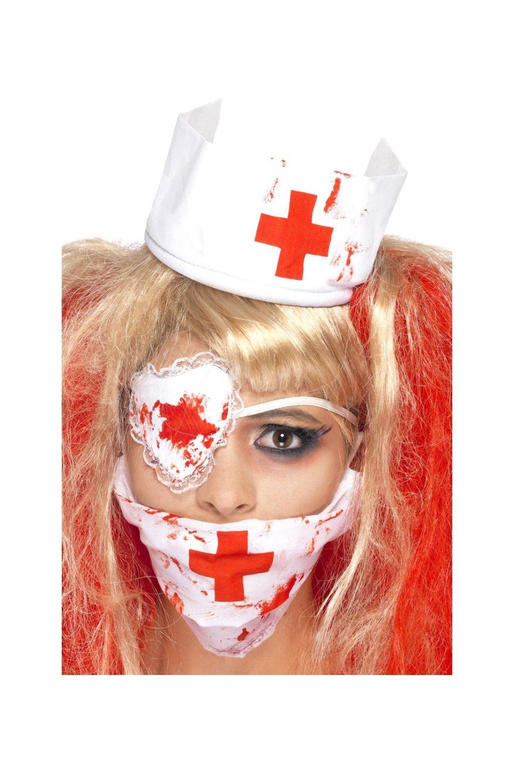 Sada krvavá sestřička - rouška, čepeček, páska přes oko