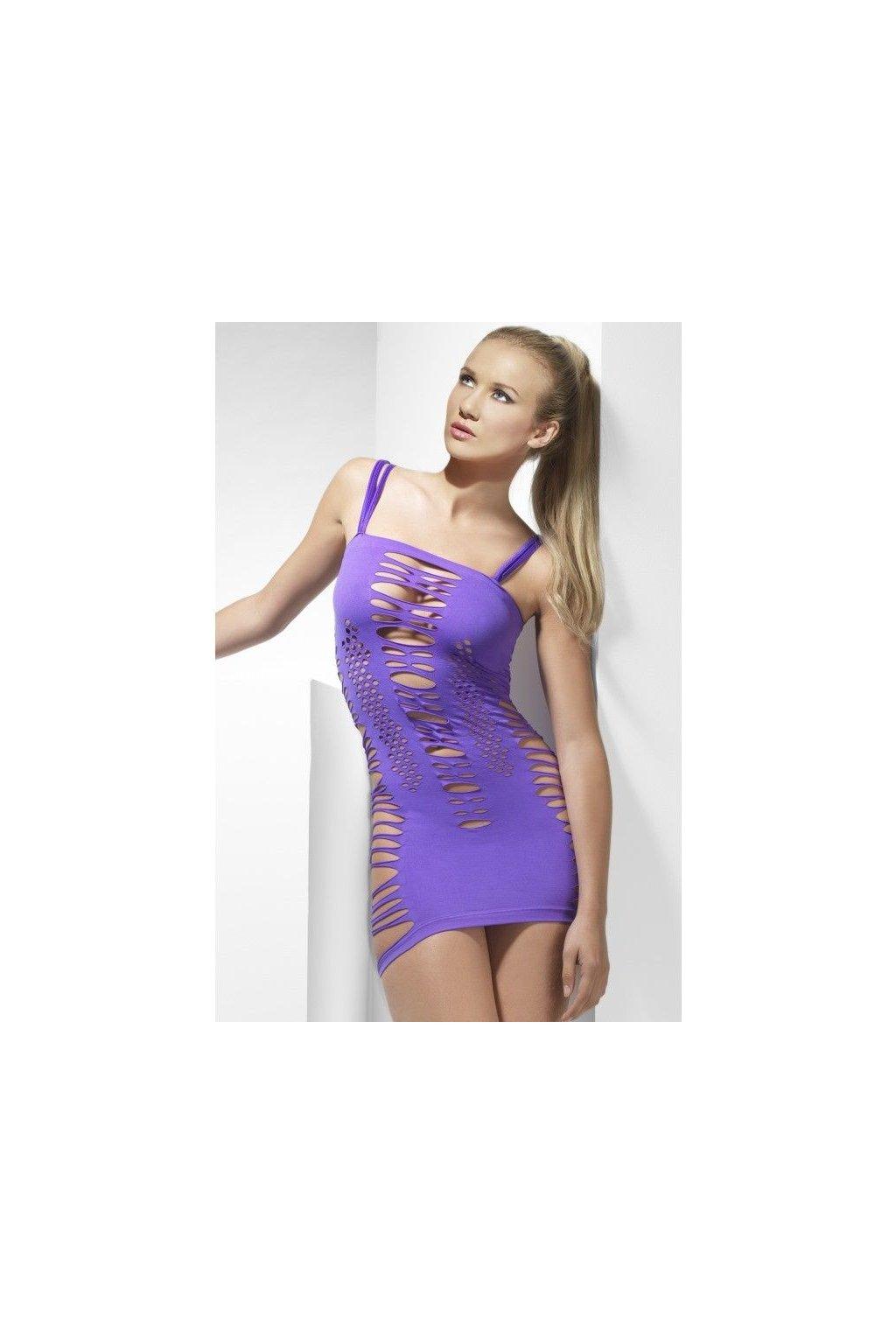 Děrované šaty fialové