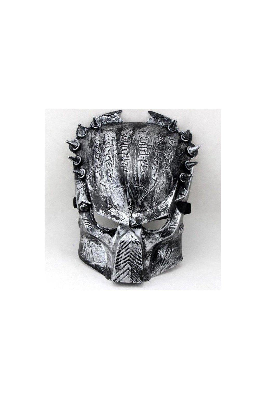 Maska Predátor kovově stříbrná