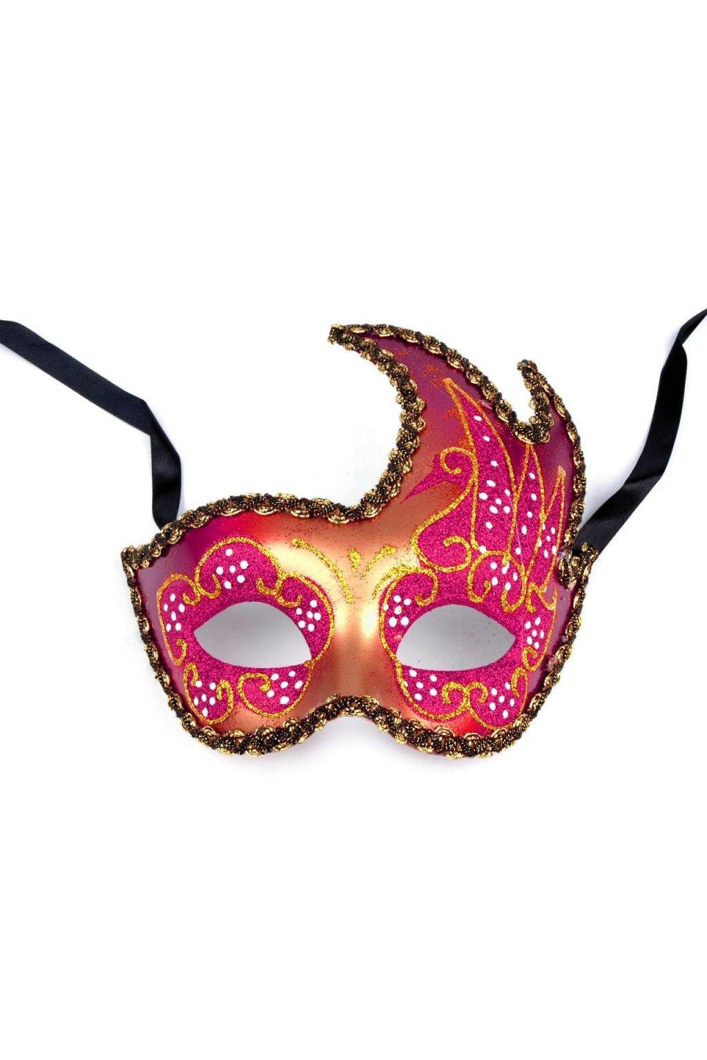 Růžová maska škraboška