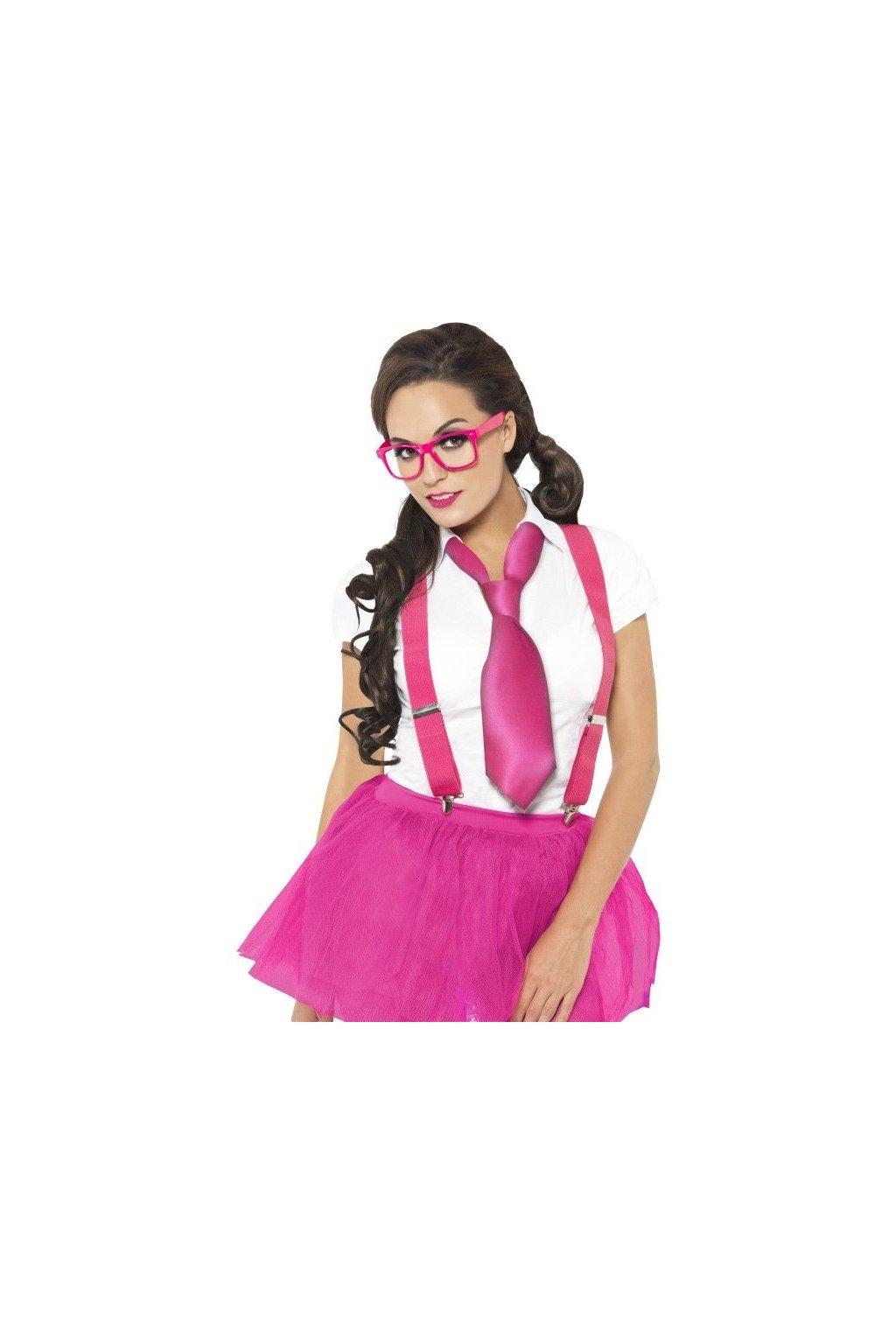 Školačka - růžová kravata, kšandy a brýle