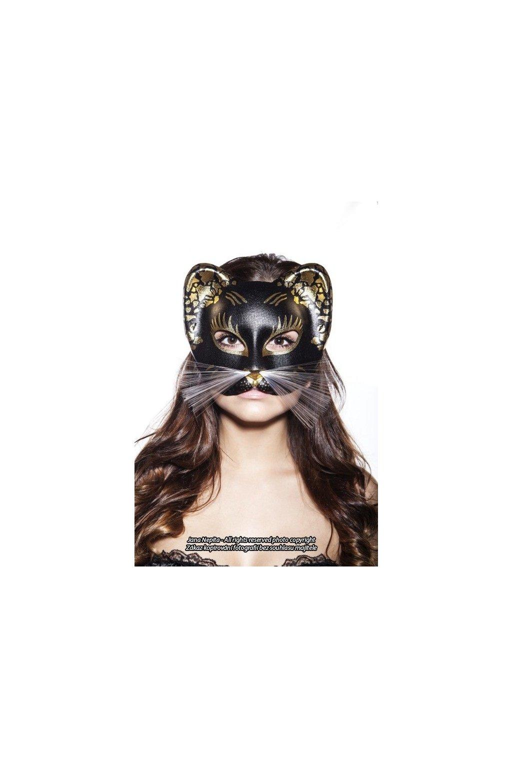 Luxusní kočičí maska zlatá