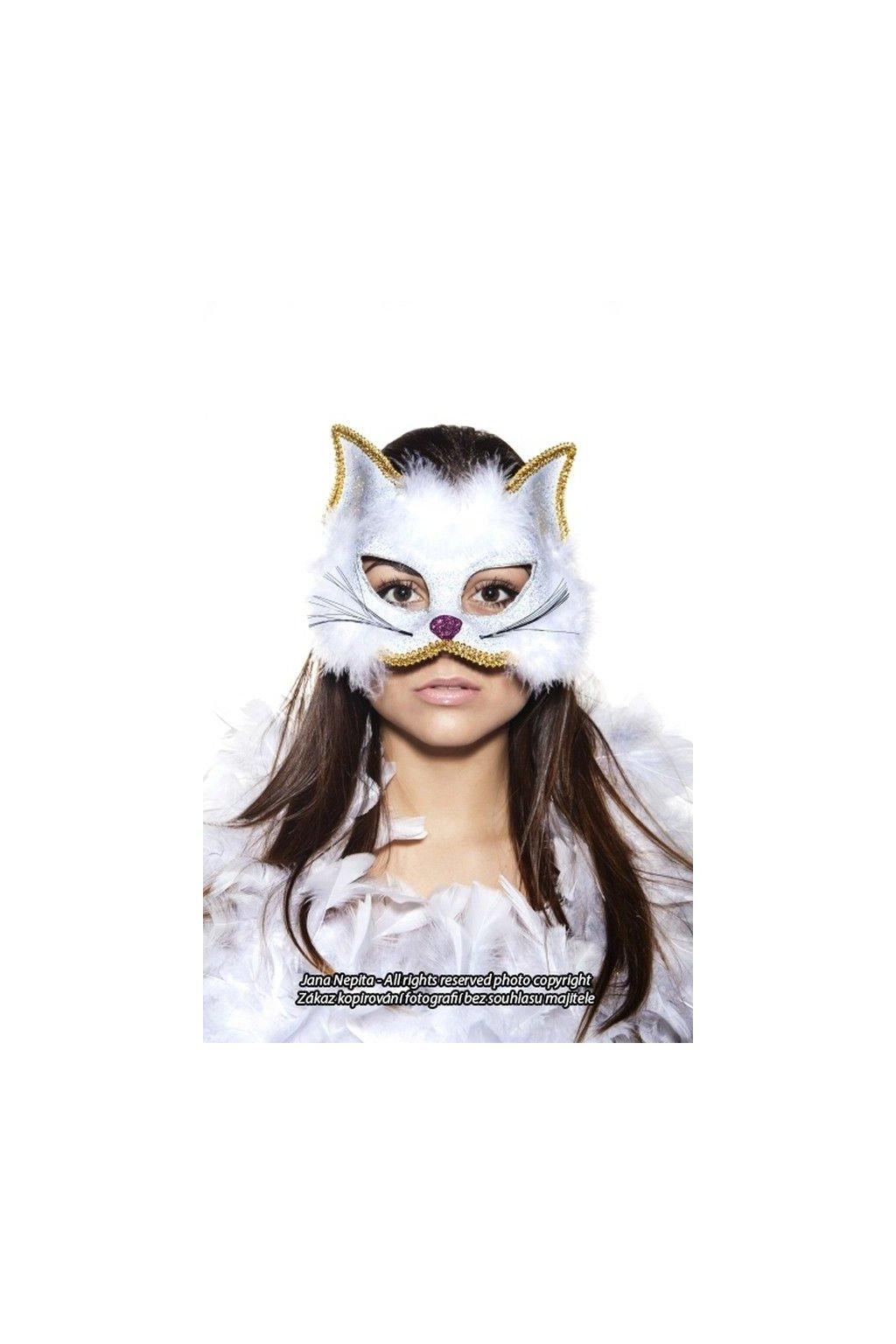 Maska kočička - bílá