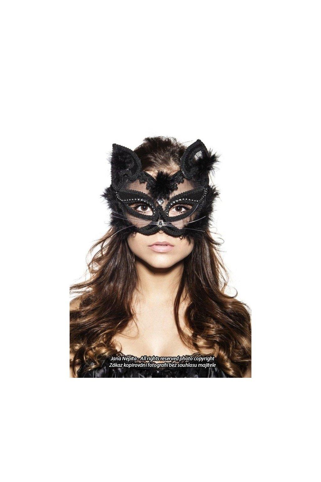 Luxury cat mask - černá